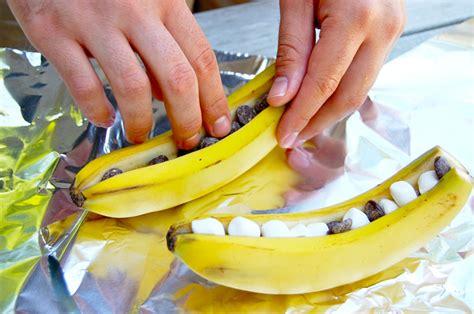 banana boat over fire bonfire food banana boats eat boutique food gift love
