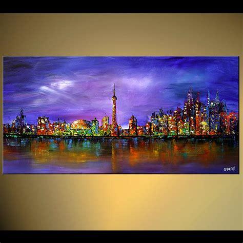 Toronto Artwork by Cityscape Painting Toronto Skyline Wall Decor City