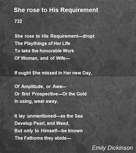 emily dickinson biography poem hunter she rose to his requirement poem by emily dickinson poem