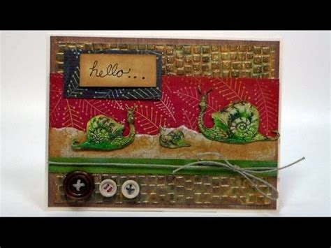 new card techniques st giveaway textured snail card and tons of new