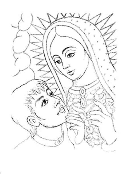 dibujos cat licos juan diego y la virgen de guadalupe colorea tus dibujos dibujo de virgen de guadalupe y juan