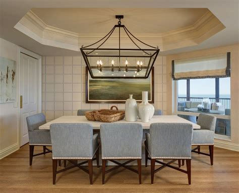 Elegant Florida Condo With Coastal Interiors Home Bunch Dining Room Lantern Lighting