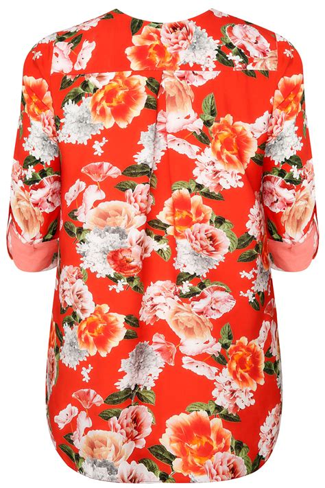 Atasan Blouse Orange Pocket orange floral v neck blouse with roll up sleeves pocket detail plus size 16 to 32