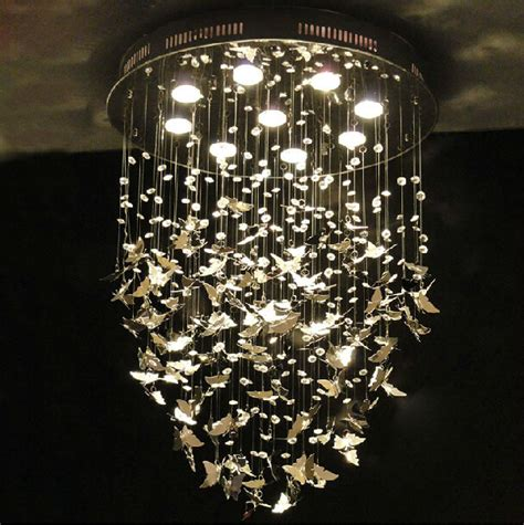 butterfly lights for bedroom new modern k9 crystal pendant lights chrome butterfly home