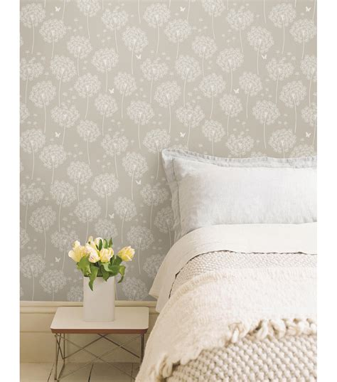 peel and stick wall paper wallpops 174 nuwallpaper dandelion taupe peel and stick