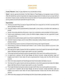Responsibilities Of A Security Officer by Sle Security Officer Description 8 Exles In Pdf Word