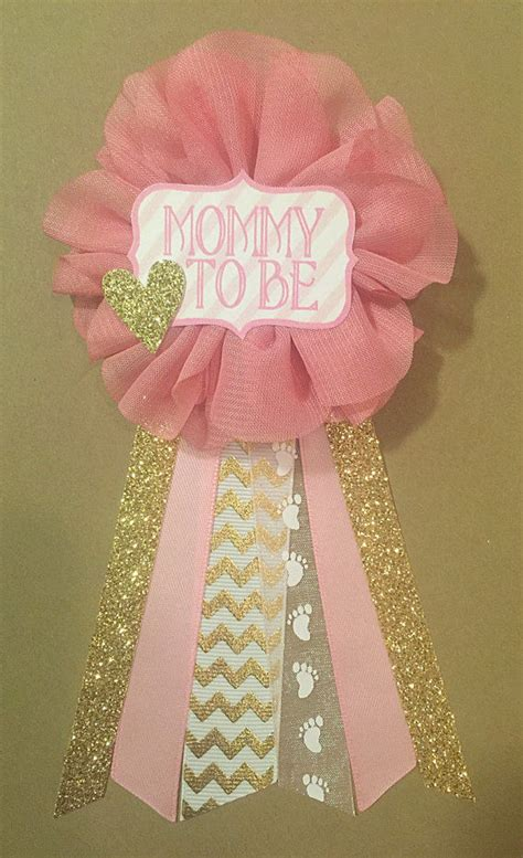pink and gold baby shower to be pin corsage pictures