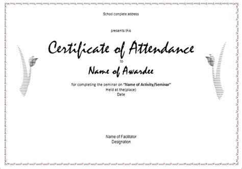 template for certificate of attendance attendance certificate templates 24 free word pdf