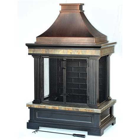 Outdoor Metal Fireplaces - shop garden treasures bronze steel outdoor wood burning fireplace at lowes com
