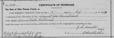Putnam County Ohio Marriage Records Genealogy Data Page 210 Notes Pages
