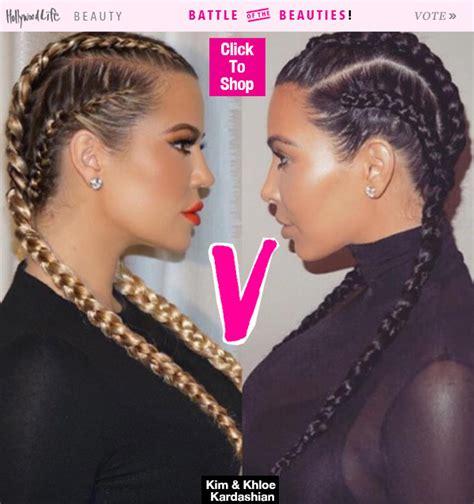 braided hairstyles kim kardashian khloe kardashian s braids vs kim kardashian s who wore