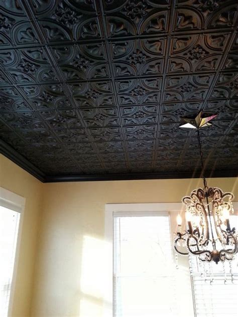 Ceiling Tiles On Walls Black Decorative Tin Ceiling Tiles Chandelier Home