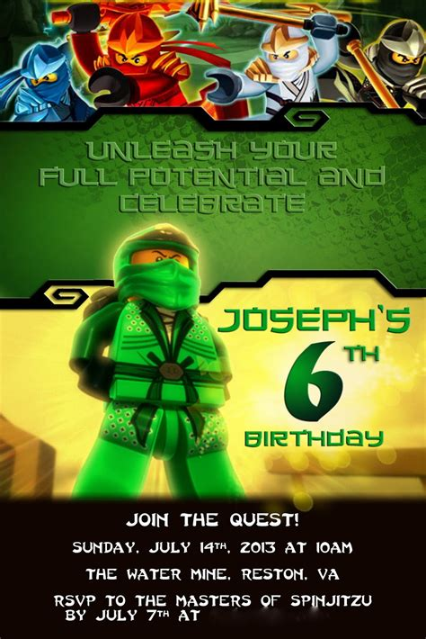 printable ninjago invitations free alton boys joseph s ninjago birthday party
