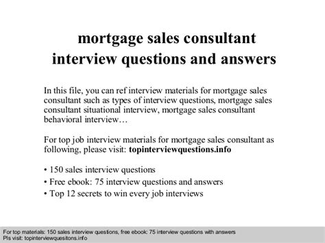 mortgage sales consultant questions and answers