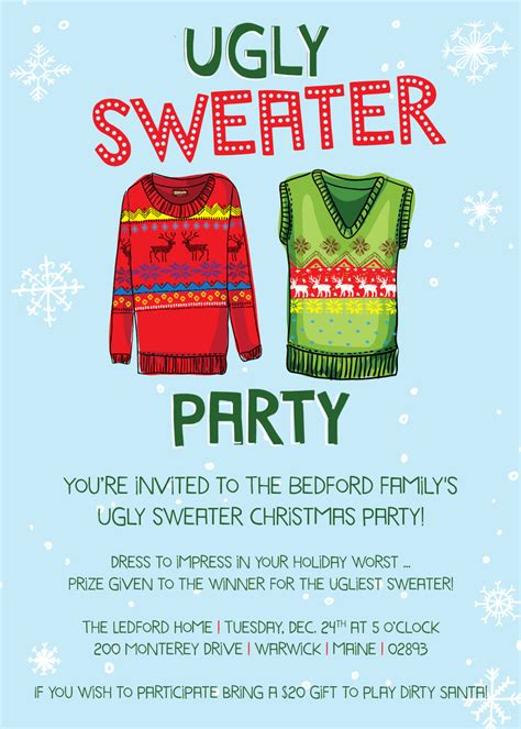 image of vanessa ledford ugly sweater invitation