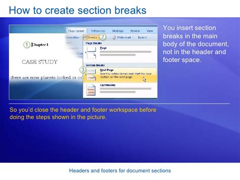 How To Make A Section In Word by Word 2007 Headers And Footers For Document Sections