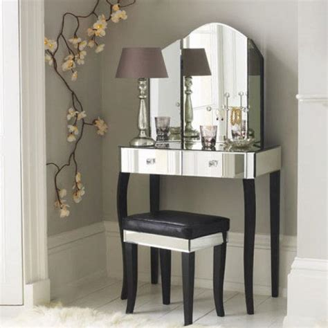 Glass Vanity Table With Mirror Mirrored Furniture Creating Spacious And Bright Interior Design
