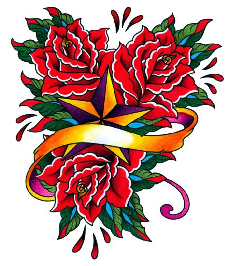 rose and stars tattoo 4 design ideas and sles