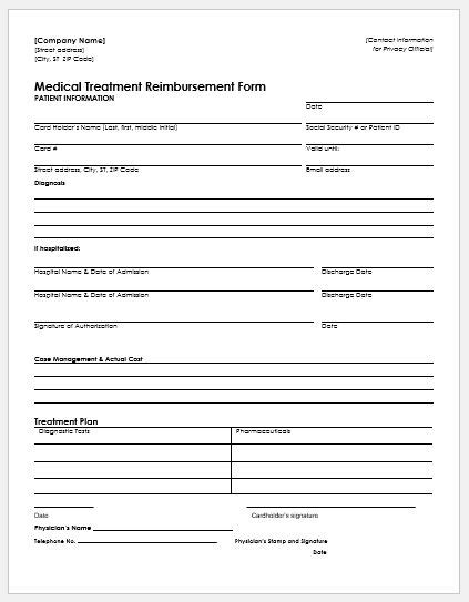 reimbursement form template word expense reimbursement form templates for excel word