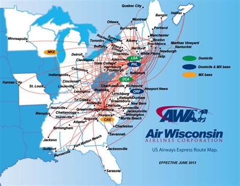 usair route map us airways express air wisconsin route map