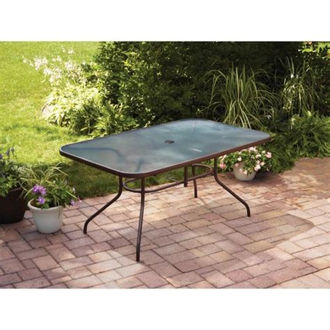 Patio Tables At Walmart with Mainstays Courtyard Creations Glass Top Outdoor Dining Table Brown Walmart