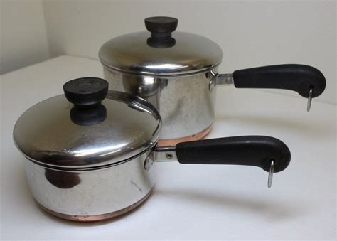 1801 revere ware 2 qt 1 qt copper clad sauce pans pots