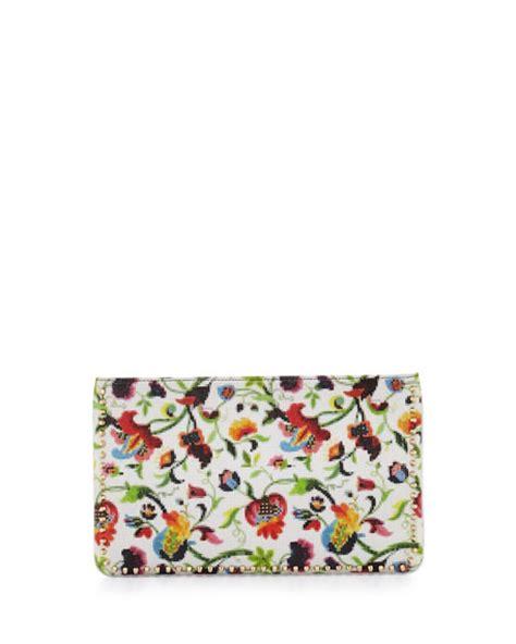 christian louboutin loubiposh floral mosaic clutch bag multi