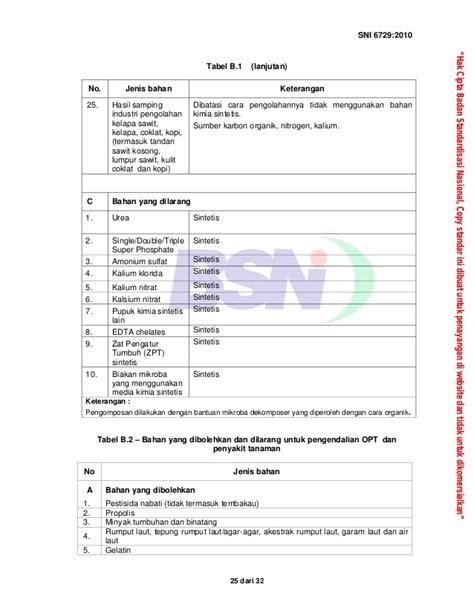 Pupuk Kalsium Nitrat Organik sni 6729 2010 sistem pangan organik