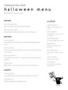 restaurant halloween menu halloween menu