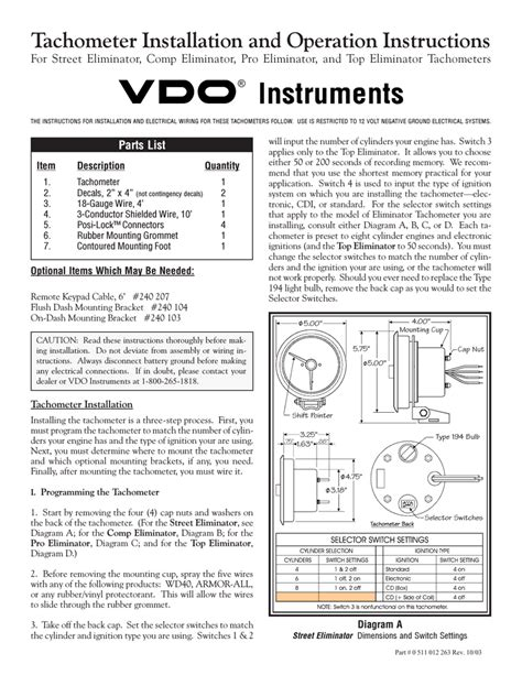 vdo tachometer wiring diagram 29 wiring diagram images