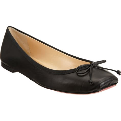 christian flat shoes christian louboutin rosella leather flats in black lyst