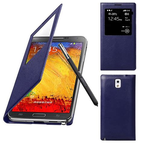 Flip S View Cover Leather Samsung Galaxy Note 3 Biru luxury s view window flip leather cover for samsung