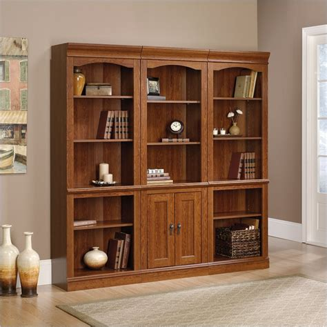 Library Bookcase With Doors Sauder Camden County Library Wall Planked Cherry Bookcase Ebay