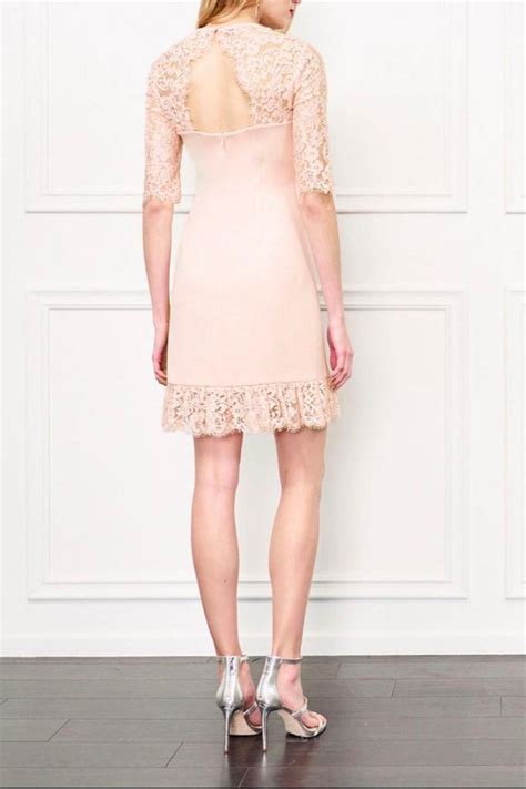 Zoe 209 Back Pink Dress zoe lace dress from back bay by max shoptiques