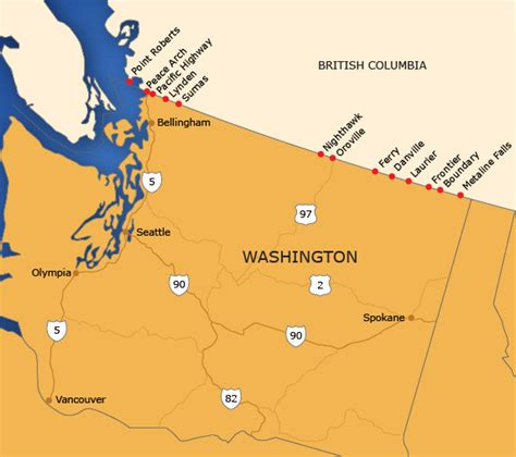 map of us and canada border crossings map canada and usa border images