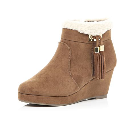river island brown wedge tassel boots in brown lyst