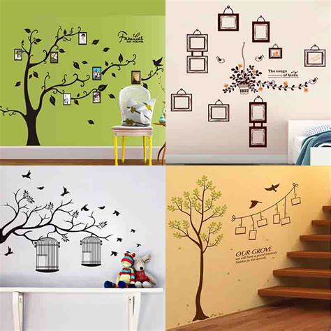 Wall Sticker Leaves 3 Cages Jm7259 wall stickers decals diy photo frame tree plant green leaves birds cages home decor home