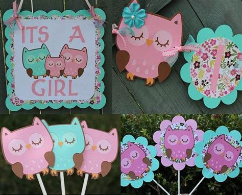 Etsy Owl Baby Shower Decorations by Pink And Aqua Owl Themed Its A Baby Shower