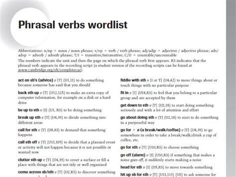 phrasal verbs wordlist for advanced cae secondary box