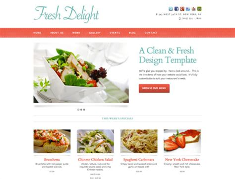 Restaurant Website Design Templates Restaurant Website Template