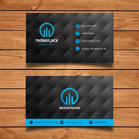 black and blue modern business card template vector free