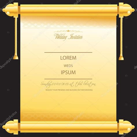 Traditional Marriage Or Wedding Card Invitation In Golden