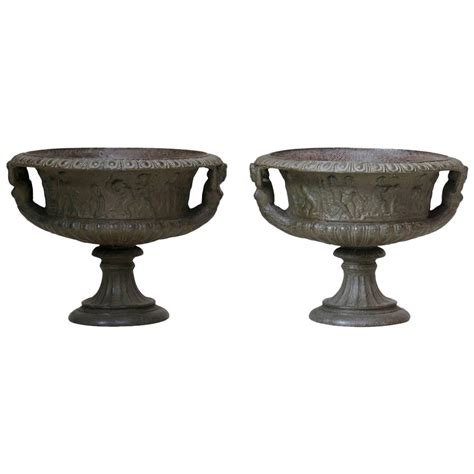 Cast Iron Planters For Sale by Pair Of Cast Iron Urns Circa 1850 For Sale
