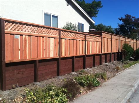 picture framed board on board 12 quot privacy lattice con common redwood on 3 retaining wall yelp