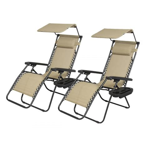 Zero Gravity Patio Chair New 2 Pcs Zero Gravity Chair Lounge Patio Chairs With Canopy Cup Holder Ho74 Ebay