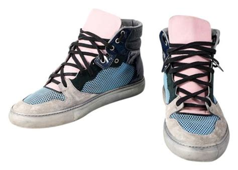 balenciaga multicolor multi panel leather high top trainers sneakers size us 13 regular m b