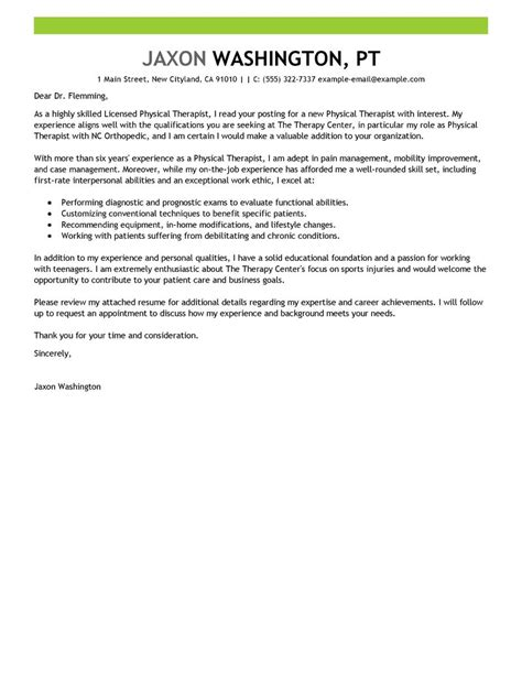 Therapy Aide Cover Letter by Leading Professional Physical Therapist Cover Letter Exles Resources Myperfectcoverletter