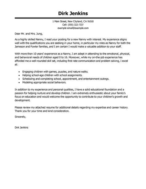 cover letter for a nanny nanny cover letter exles personal care services
