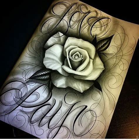 rose tattoo with writing prison arte chicano pride chicano