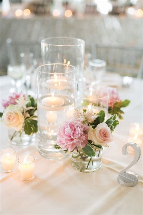 les fleurs : floating candle centerpieces : blush pink
